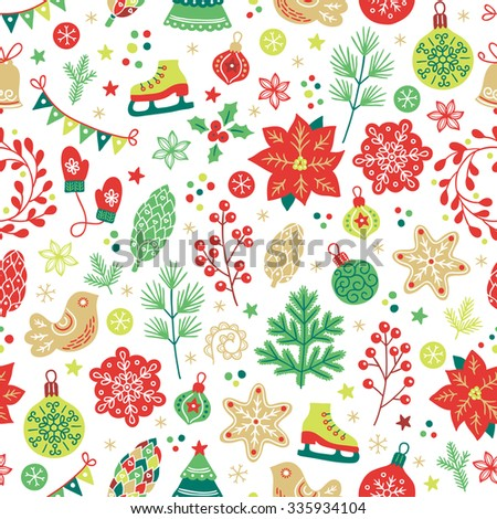 Christmas seamless pattern with fir tree, poinsettia, cookies, berries, bird, cone, fir branches, garland, flowers, snowflakes, mittens, bells, balls, baubles, wreaths, skates in Red, Green and White - stock vector