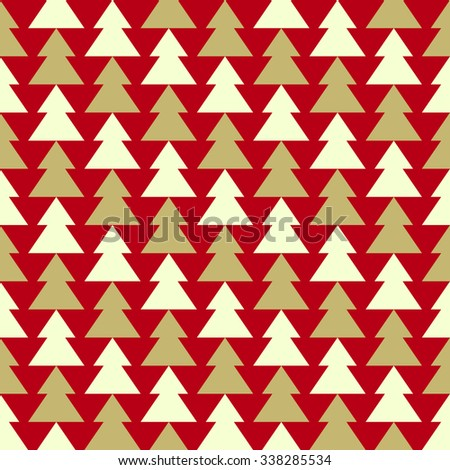Christmas seamless pattern with fir-tree. Vector illustration. - stock vector