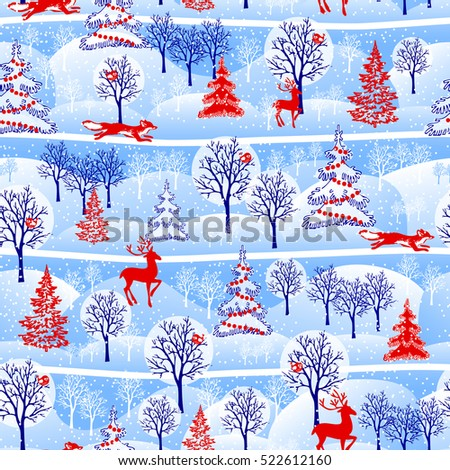 christmas seamless pattern with fir trees, deer, foxes and birds