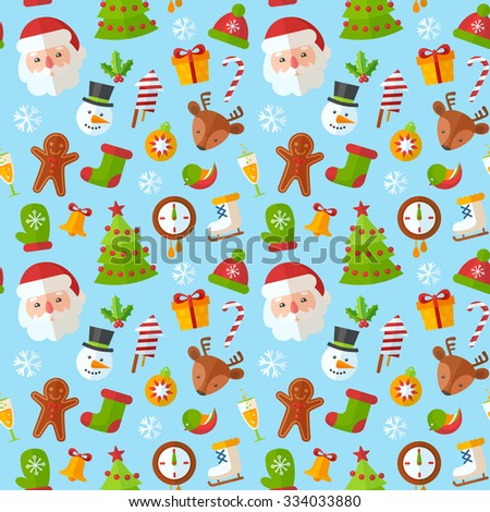 Christmas seamless pattern with flat winter elements - Santa, deer, gingerbread cookie, stocking, xmas tree, snowflakes - stock vector