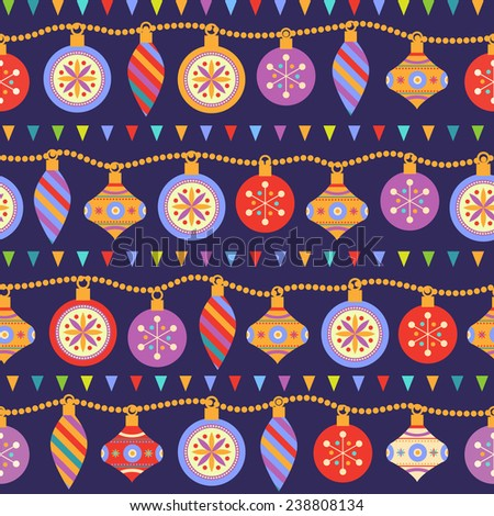 Christmas seamless pattern with garland from bright multicolored balls  - stock vector