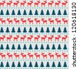 Christmas seamless pattern with moose, fir tree and snowflake silhouettes. Vector illustration. - stock photo