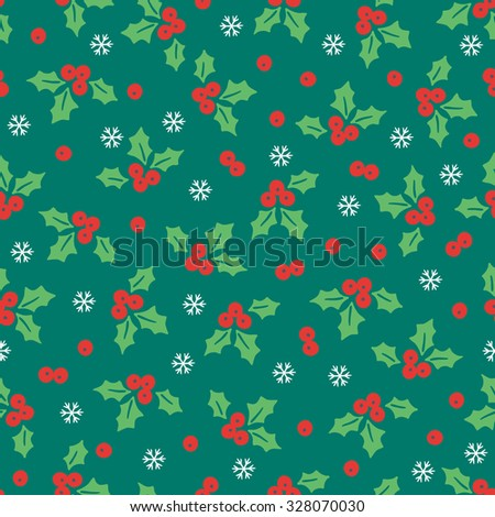 Christmas seamless pattern with poinsettia and snowflakes on dark background. Perfect for wallpaper, gift paper, pattern fills, textile, Christmas and New Year greetings cards. - stock vector