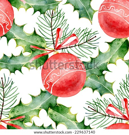 Christmas seamless pattern with red balls, fir branches and holly leaves. Vector  illustration - stock vector