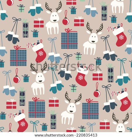 Christmas seamless pattern with reindeer, mittens, stockings, balls and gifts.
