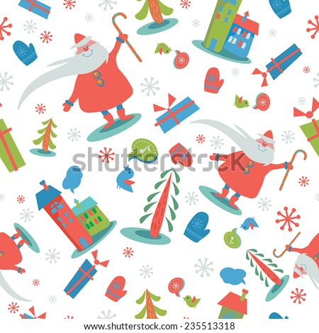 Christmas seamless pattern with Santa Claus, houses, trees, birds, gifts, mittens and snowflakes. - stock vector