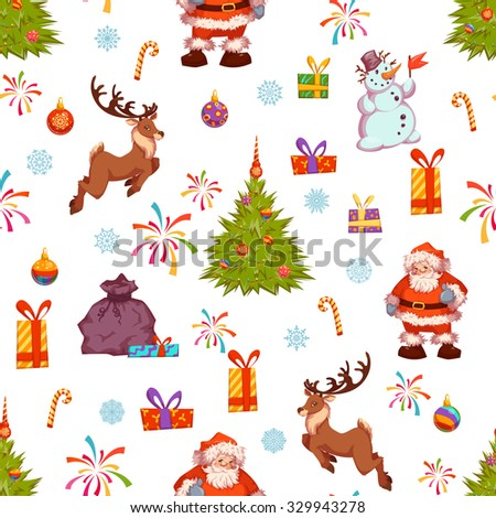 Christmas seamless pattern with Santa, pine, deer and other.