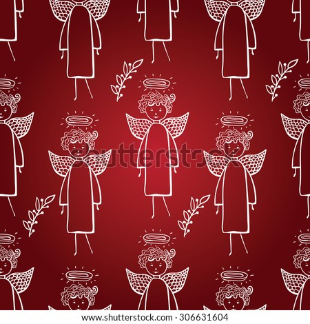 Christmas seamless pattern with silhouettes with angel vector background. Perfect for wallpapers, pattern fills, web page backgrounds, surface textures, textile - stock vector