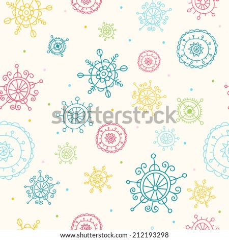 Christmas Seamless Pattern with Snowflakes - stock vector