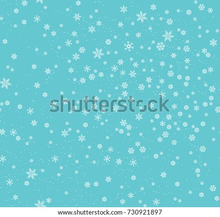 Christmas seamless pattern with snowflakes abstract background. White snowflakes. Vector illustration. Light blue background. Holiday design for Christmas and New Year fashion prints.