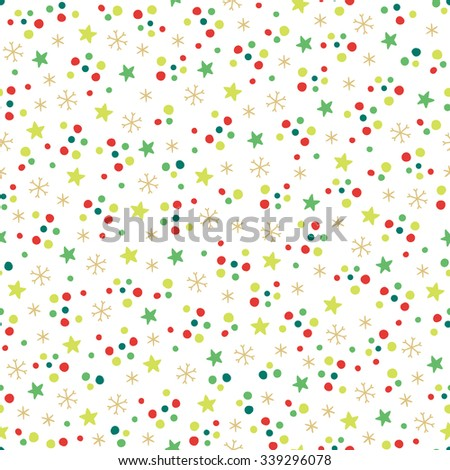 Christmas seamless pattern with snowflakes, stars and confetti. Perfect for wallpaper, textile, pattern fills, gift paper, Christmas and New Year greetings cards. - stock vector