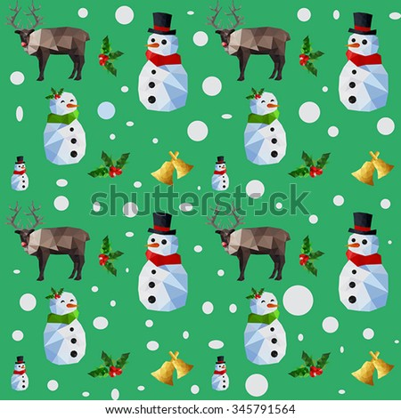 Christmas seamless pattern with snowman and reindeer on green background - stock vector