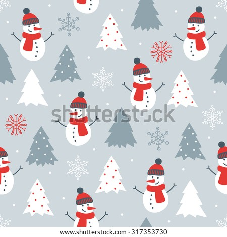 Christmas seamless pattern with snowman, fir trees and snowflakes. Perfect for wallpaper, wrapping paper, pattern fills, winter greetings, web page background, Christmas and New Year greeting cards - stock vector