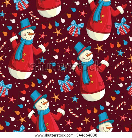 Christmas seamless pattern with snowman, gifts and others elements. Pattern Swatches, vector, Endless texture can be used for wallpaper, pattern fills, web page,background,surface - stock vector