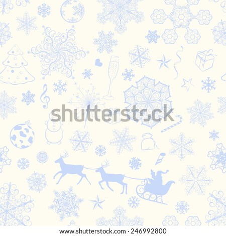 Christmas seamless pattern with violet snowflakes and xmas symbols - stock vector