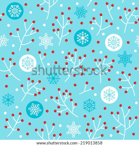 Christmas seamless pattern with winter motives (berries, snowflakes and balls). Perfect for wallpapers, pattern fills, web page backgrounds, surface textures, textile.  - stock vector