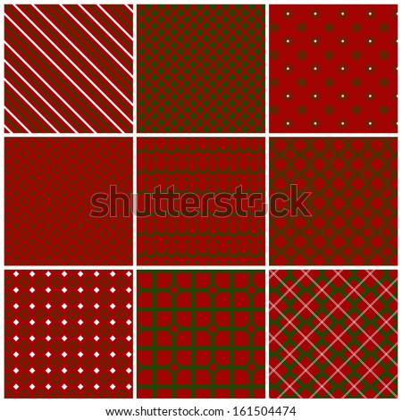 Christmas seamless patterns in traditional red and green colors. Set 2. Vector illustration. - stock vector