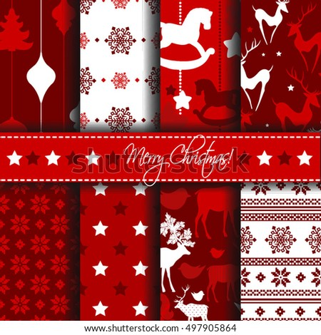 Christmas seamless patterns with deers and stars.  Vector set of seamless patterns. Winter holiday backgrounds.