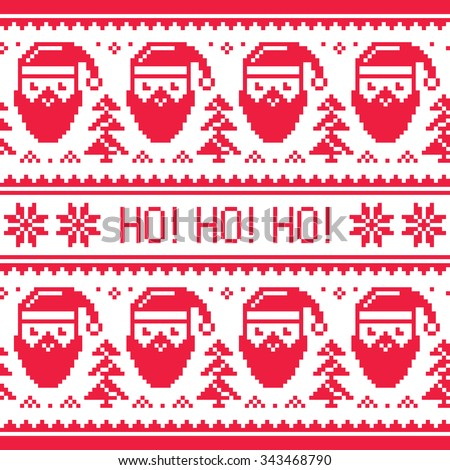 Christmas seamless red pattern with Santa and snowflakes - stock vector