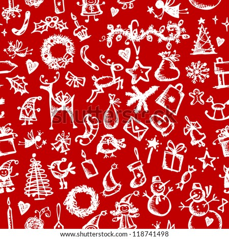 Christmas seamless sketch for your design - stock vector