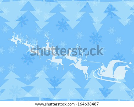 Christmas seamless *--theme of Santa Claus running his reindeer among geometric christmas tree and tender snowflakes made in blue pastel color