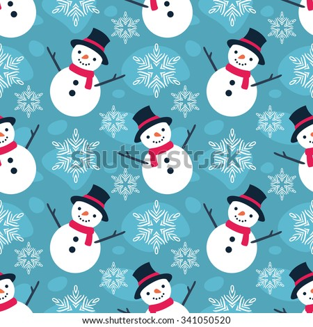 Christmas Seamless Vector Pattern. Contain flat snowman illustration. Great for wrapping paper and wallpapers. - stock vector