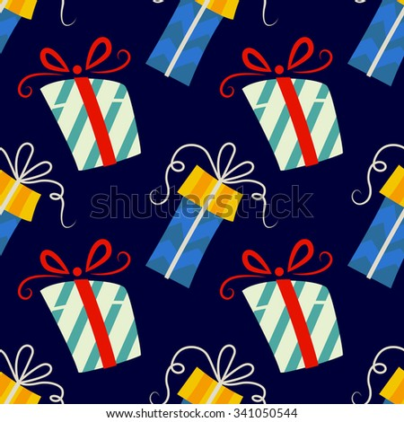 Christmas Seamless Vector Pattern. Contain gifts illustration. Great for wrapping paper and wallpapers.