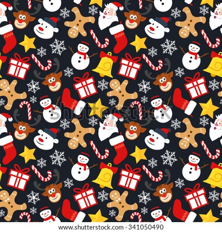 Christmas Seamless Vector Pattern Contain Snowman Reindeer Snowflake Gift Gingerbread Man