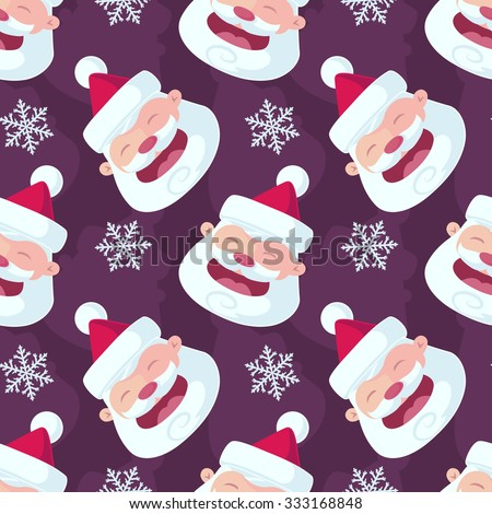 Christmas Seamless Vector Pattern. Great for wrapping paper and wallpapers. Contain cartoon santa claus illustration. - stock vector