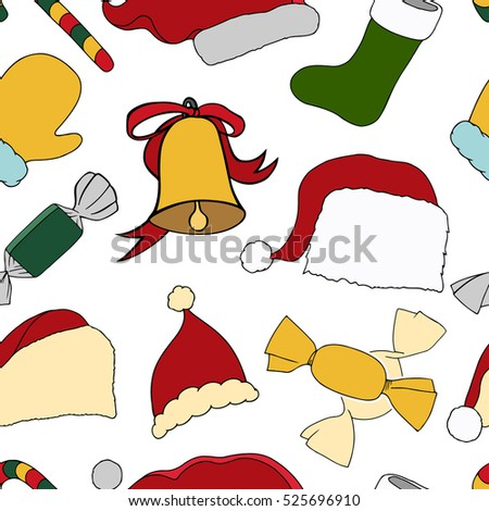 Christmas seamless vector pattern. Holiday icons, patches, stickers. Gifts, christmas and balls. New Year celebration elements. Design for fashion print, wrapping, backgrounds.