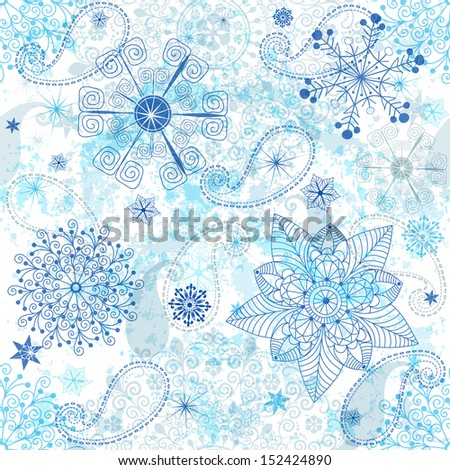 Christmas seamless white grunge pattern with transparent blue and silver snowflakes and stars (vector EPS 10) - stock vector
