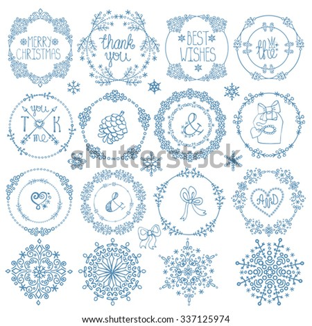 Christmas season,New year decoration elements set.Circle frames wreaths.Doodles snowflakes,wishes.For winter templates,invitations,wedding,Valentines day,holidays,menu,birthday.Vintage Vector - stock vector