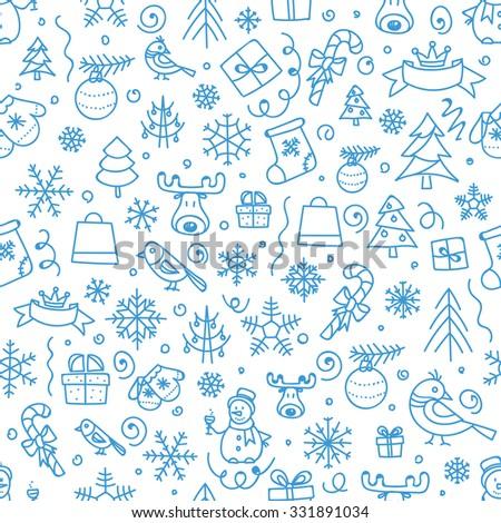 Christmas season vector seamless pattern. Xmas hand-drawn elements - stock vector
