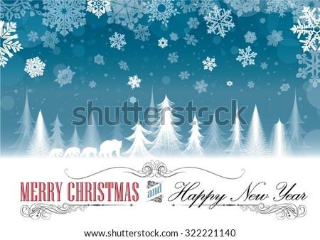 Christmas seasonal greeting card - stock vector