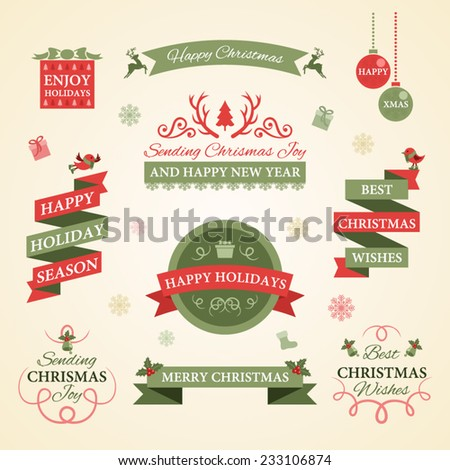 Christmas set. Badges, labels and other decorative elements. - stock vector