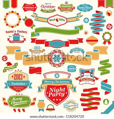 Christmas set - colorful ribbons, labels and other decorative elements. Vector illustration. - stock vector