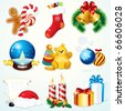 Christmas Set - detailed vector clip art include: Gifts, Sock, Sweets, Snowglobe,  Bells, Santa symbols and other decorations - design elements - stock vector