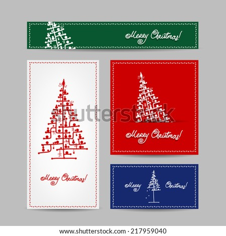 Christmas set for print cards - stock vector