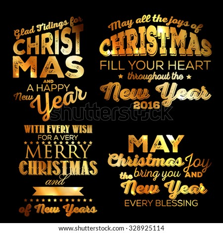 Christmas set Gold Merry Christmas and Happy New Year Calligraphic And Typographic Background - stock vector