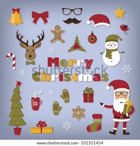 Christmas set icons - stock vector