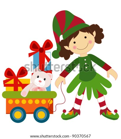 Christmas set in vector including girl, gifts boxes and Christmas trolley.