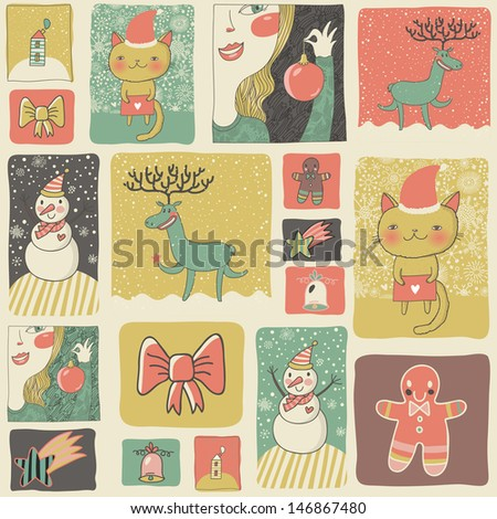 Christmas set in vintage style. Cartoon new year cards and wallpapers in childish style. Cat, snowman, deer, cookie, girl and other holiday design elements in vector - stock vector