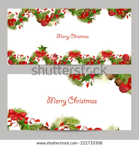 christmas set invitation cards for your design - stock vector