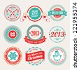 Christmas set - labels and emblems. Vector illustration. - stock vector