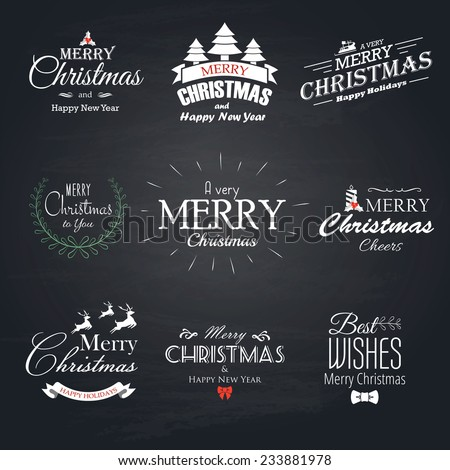 Christmas set labels, emblems and decorative elements - Chalkboard.Vector - stock vector