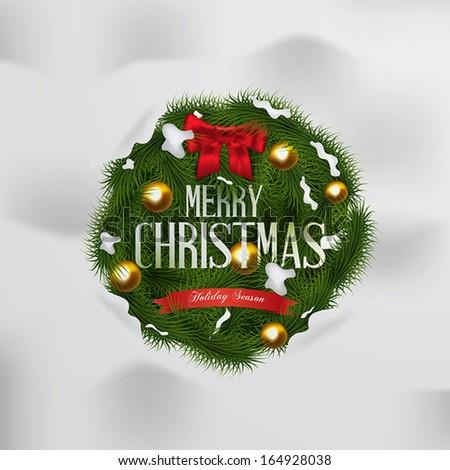 Christmas set labels, emblems and decorative elements - fir tree.Vector - stock vector