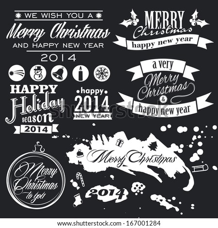 Christmas set. Labels, emblems and other decorative elements. - stock vector