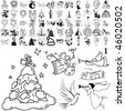 Christmas set of black sketch. Part 105-1. Isolated groups and layers. - stock photo