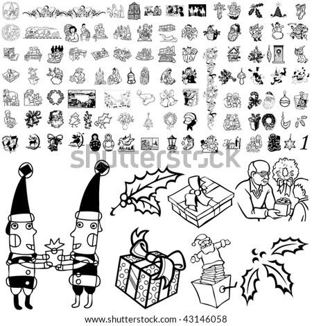 Christmas set of black sketch. Part 103-11. Isolated groups and layers. - stock vector