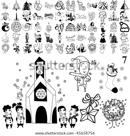 Christmas set of black sketch. Part 104-7. Isolated groups and layers. - stock vector